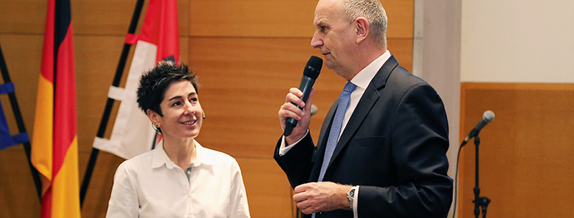 ZDF-Moderatorin Dunja Hayali und Ministerpräsident Dietmar Woidke (Foto: brandenburg.de)