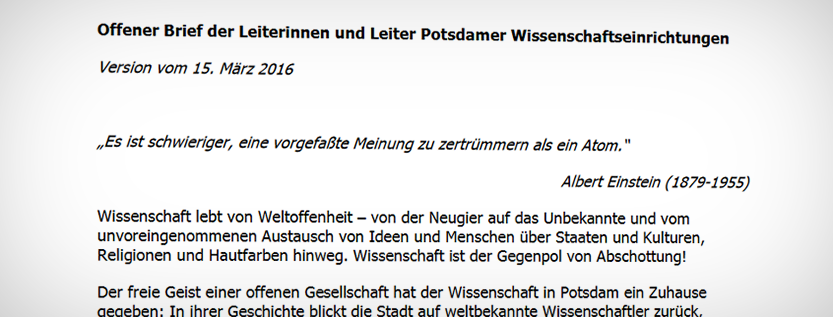 Offener Brief der Potsdamer Wissenschaftseinrichtungen