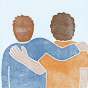 "Logo der Initiative ""Start with a Friend"" (Illustration: Oleksandr Parkhomovskyy, www.rekord.cc)"